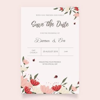 Invitación con fondo de flores