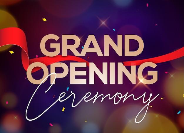 Invitación del concepto del cartel de la ceremonia de inauguración. plantilla de fiesta de decoración de evento de gran inauguración.