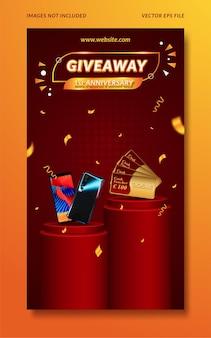 Invitación de concurso de aniversario de sorteo para plantilla de historia de redes sociales