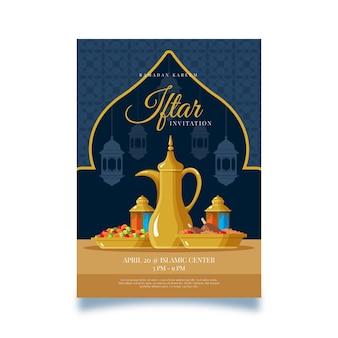 Invitación creativa de diseño plano iftar