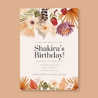Invitación de cumpleaños de acuarela boho