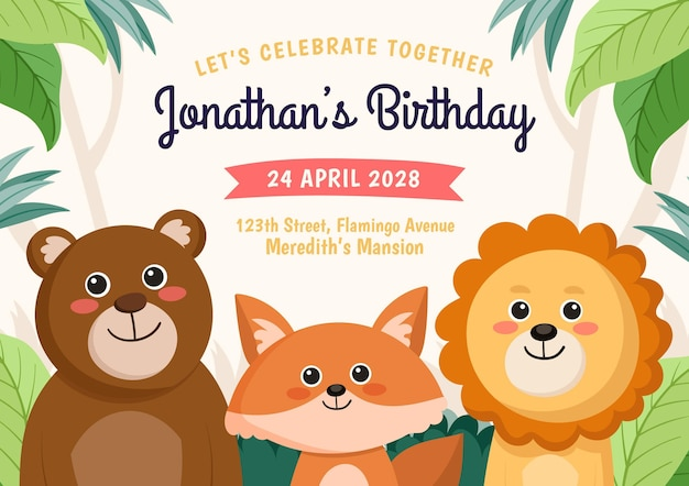 Invitación de cumpleaños de animales de estilo de dibujos animados