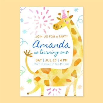 Invitación de cumpleaños de animales pintados a mano