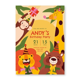 Invitación de cumpleaños de animales planos