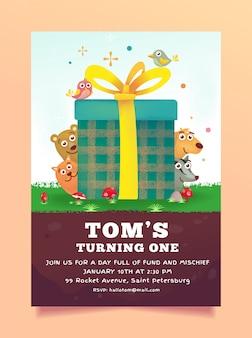 Invitación de cumpleaños animales tema caja de regalo gratis