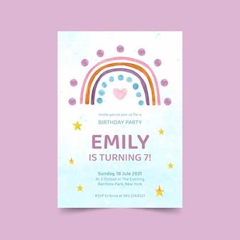Invitación de cumpleaños arco iris acuarela pintada a mano
