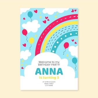Invitación de cumpleaños arcoiris dibujada a mano