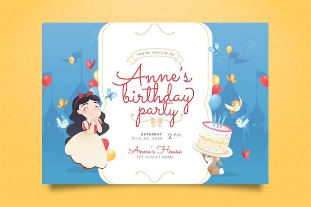 Invitación de cumpleaños blanca nieves dibujada a mano
