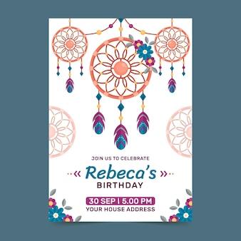 Invitación de cumpleaños boho de diseño plano