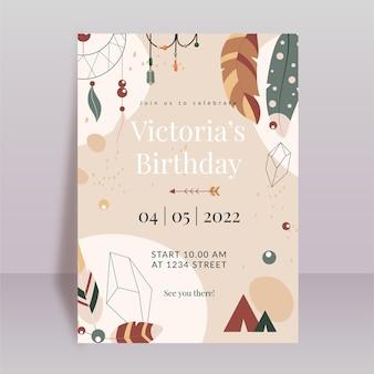 Invitación de cumpleaños boho