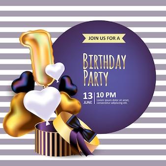 Invitación de cumpleaños con caja de embalaje realista