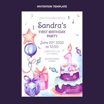 Invitación de cumpleaños dibujada a mano en acuarela