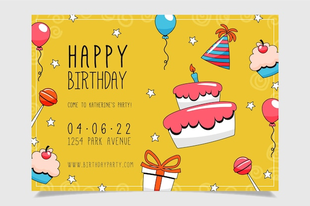 Invitación de cumpleaños dibujada a mano