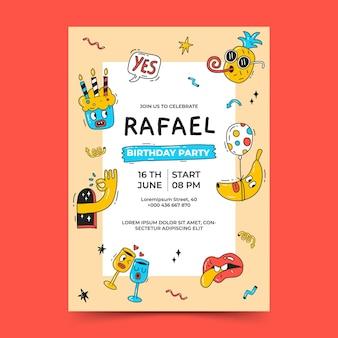Invitación de cumpleaños de dibujos animados de moda dibujada a mano