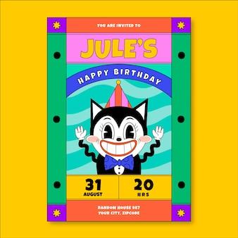 Invitación de cumpleaños de dibujos animados de moda de diseño plano dibujado a mano