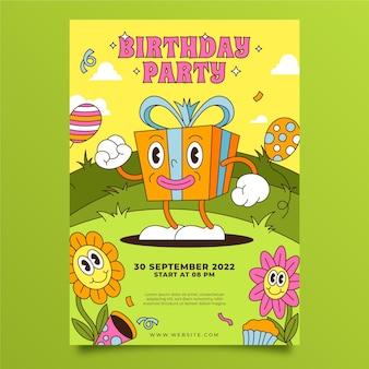 Invitación de cumpleaños de dibujos animados de moda plana dibujada a mano