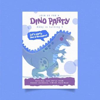 Invitación de cumpleaños de dinosaurio acuarela pintada a mano