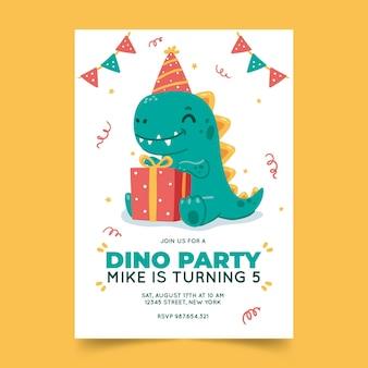 Invitación de cumpleaños de dinosaurio dibujado a mano