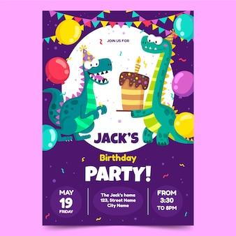 Invitación de cumpleaños de dinosaurio de dibujos animados