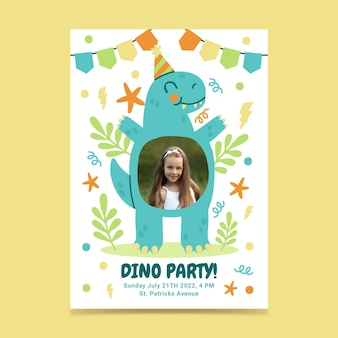 Invitación de cumpleaños de dinosaurio plana con foto
