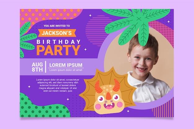 Invitación de cumpleaños de dinosaurio plano orgánico