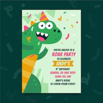 Invitación de cumpleaños de dinosaurio plano