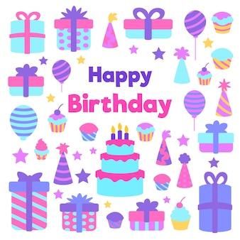 Invitación de cumpleaños de diseño plano con elementos coloridos