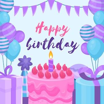 Invitación de cumpleaños de diseño plano con pastel de cumpleaños