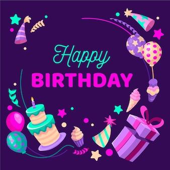 Invitación de cumpleaños de diseño plano