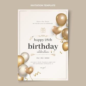 Invitación de cumpleaños dorada de lujo realista