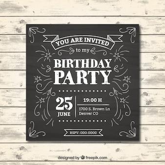 Invitación de cumpleaños en efecto pizarra