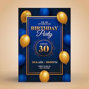 Invitación de cumpleaños elegante degradado con globos