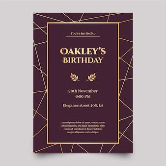 Invitación de cumpleaños elegante plantilla