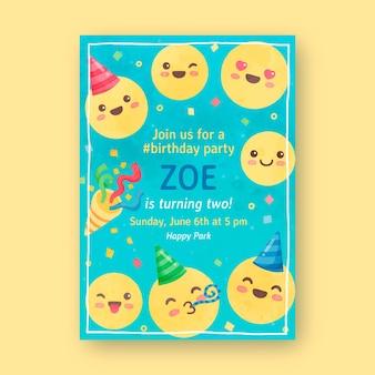Invitación de cumpleaños emoji acuarela pintada a mano