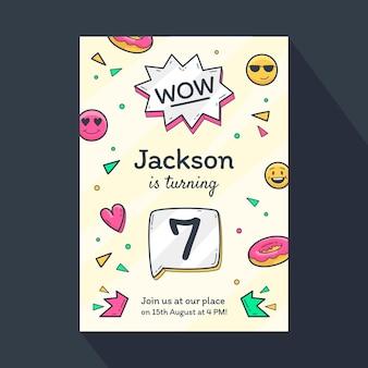 Invitación de cumpleaños emoji dibujada a mano