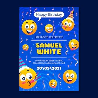 Invitación de cumpleaños de emoji de dibujos animados
