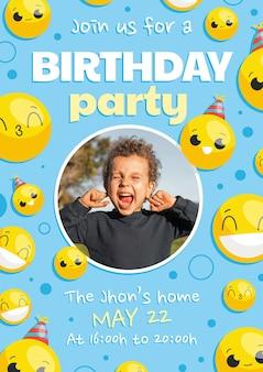 Invitación de cumpleaños emoji con foto
