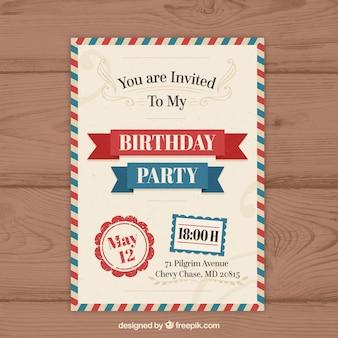 Invitación de cumpleaños en estilo vintage