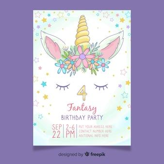 Invitación de cumpleaños femenino con unicornio