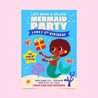 Invitación de cumpleaños de fiesta de sirena de dibujos animados