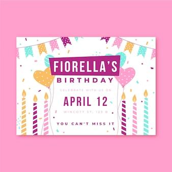Invitación de cumpleaños fiesta velas y confeti