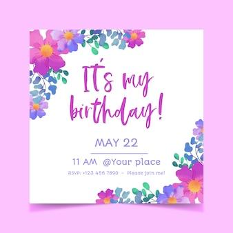 Invitación de cumpleaños floral creativa