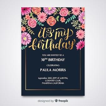 Invitación de cumpleaños floral de plantilla