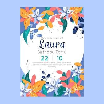 Invitación de cumpleaños con flores y hojas.
