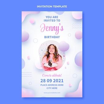 Invitación de cumpleaños fluido abstracto degradado