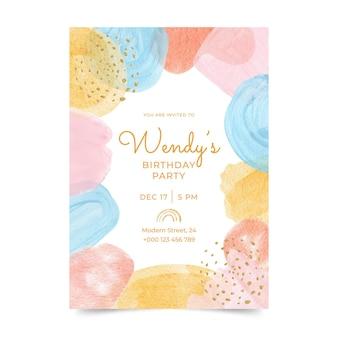 Invitación de cumpleaños de formas abstractas en acuarela