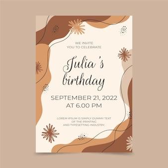 Invitación de cumpleaños de formas abstractas dibujadas a mano