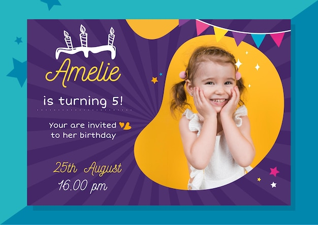 Invitación de cumpleaños con foto