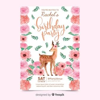 Invitación de cumpleaños hermosa con ciervos