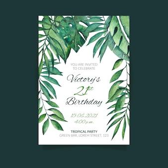 Invitación de cumpleaños con hojas tropicales